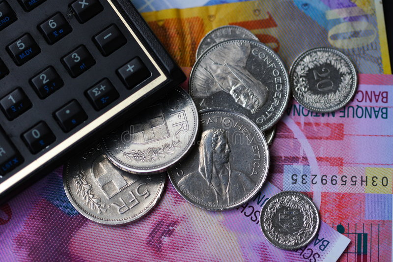 франки швейцарца i стоковые изображения
