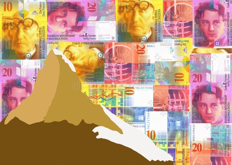 франки швейцарца matterhorn иллюстрация вектора