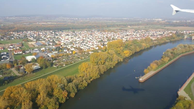 Франкфурт от поднимающего вверх в воздухе стоковая фотография rf