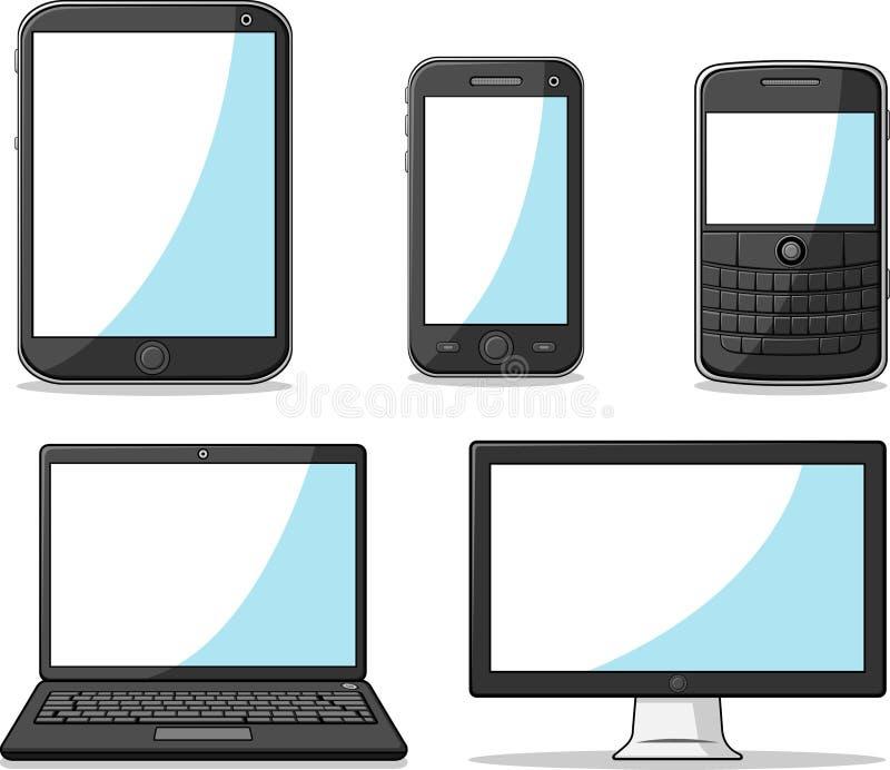 Франтовские телефон, таблетка, компьтер-книжка и компьютер иллюстрация штока