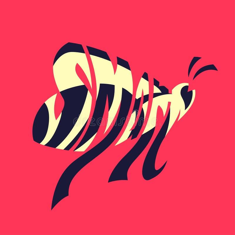 франтовск Изображение слова оформления как изображение пчелы Вручите lettered графическую иллюстрацию, текст внутри формы, силуэт иллюстрация штока