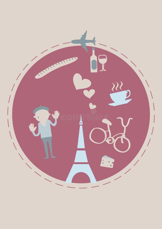 Франция, котор нужно переместить Крышка для брошюры или карточки, плаката или стикера также вектор иллюстрации притяжки corel иллюстрация вектора