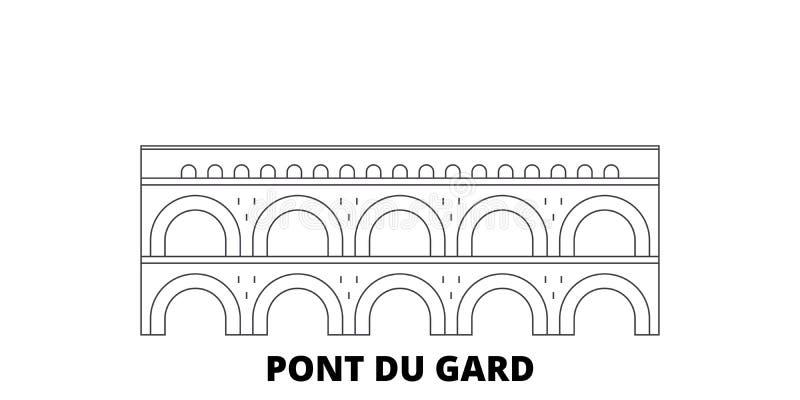 Франция, линия набор ориентира Pont Du Гара горизонта перемещения Франция, иллюстрация вектора города плана ориентира Pont Du Гар иллюстрация вектора