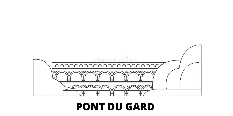 Франция, линия набор Pont Du Гара горизонта перемещения Франция, иллюстрация вектора города плана Pont Du Гара, символ, перемещен иллюстрация штока