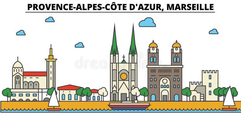 Франция, марсель, Коут d Azur Провансали Alpes Архитектура горизонта города иллюстрация штока