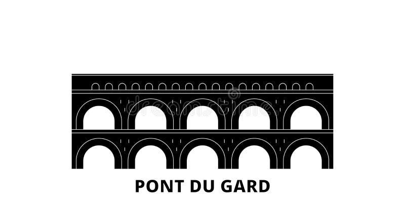 Франция, набор горизонта перемещения ориентира Pont Du Гара плоский Франция, иллюстрация вектора города черноты ориентира Pont Du иллюстрация штока