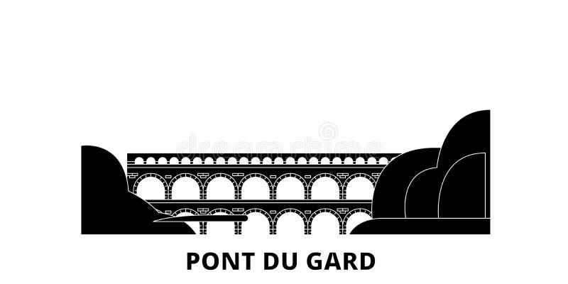 Франция, набор горизонта перемещения Pont Du Гара плоский Франция, иллюстрация вектора города черноты Pont Du Гара, символ, видим иллюстрация штока