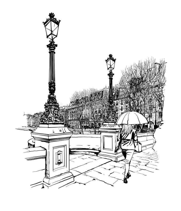 Франция - Париж, Pont Neuf под дождем бесплатная иллюстрация