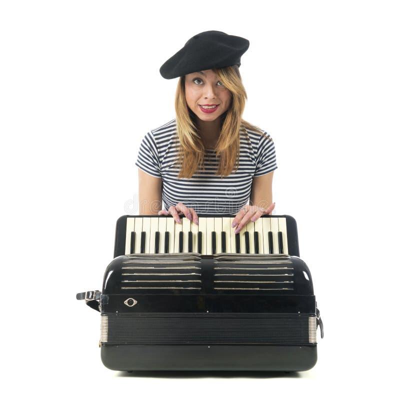 Французская девушка с аккордеоном стоковые изображения