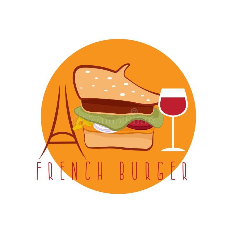 Французская концепция бургера иллюстрация штока