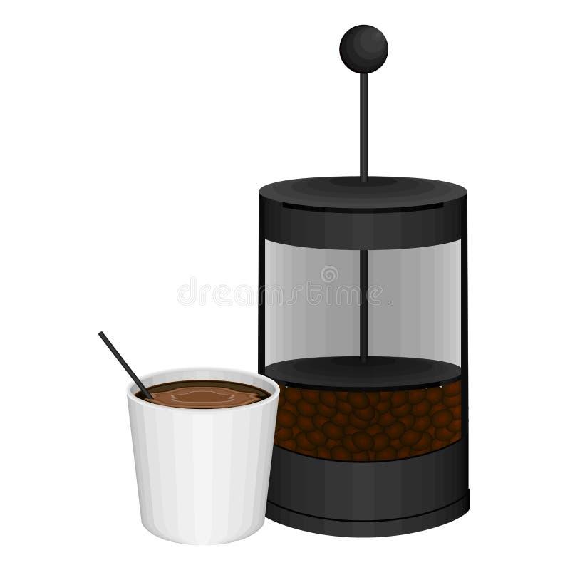 Французская пресса с кофейной чашкой бесплатная иллюстрация