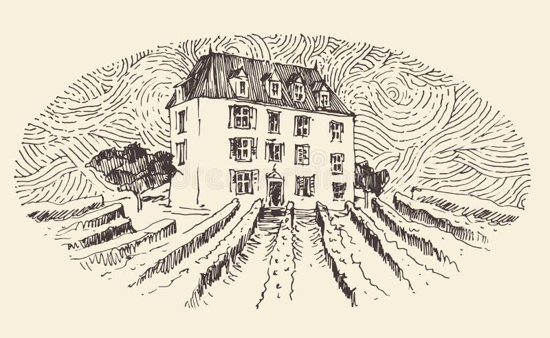 Французская провинция, меню ярлыка вина, выгравированный год сбора винограда иллюстрация штока