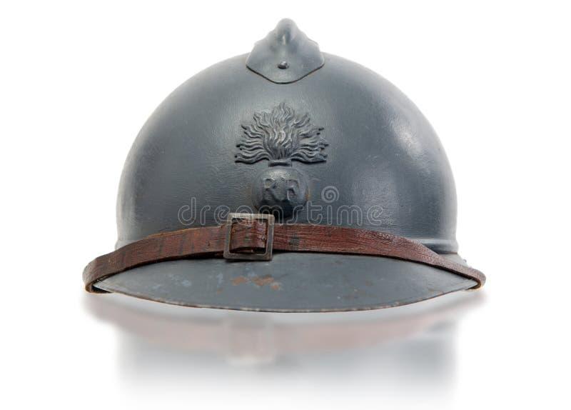 Французские военные шлемы первой мировой войны на белой предпосылке стоковая фотография rf