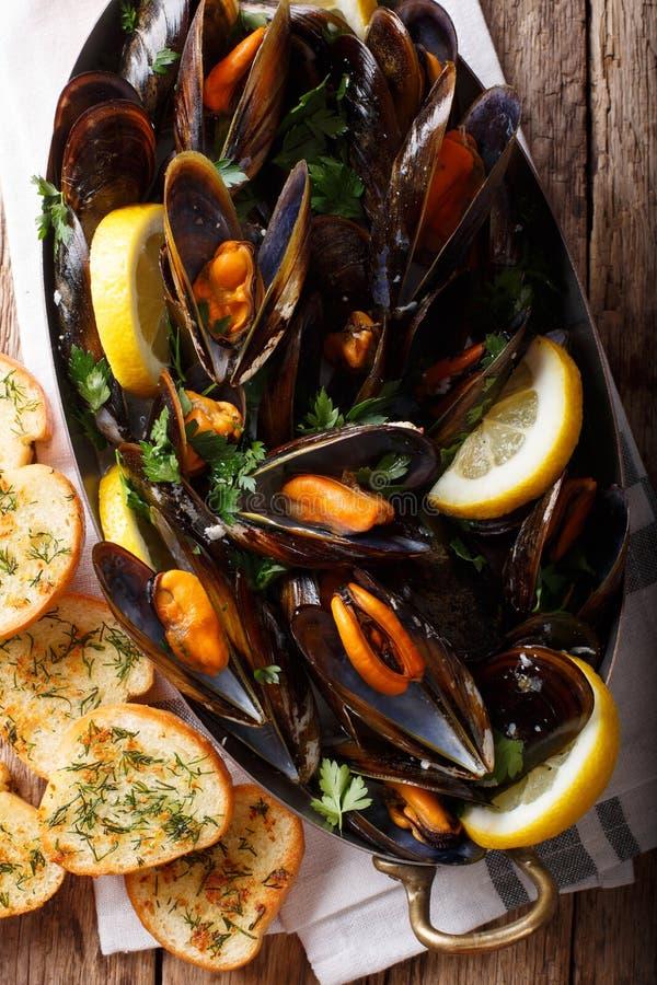 Французские мидии с концом-вверх лимона, петрушки и чеснока в copp стоковые фотографии rf