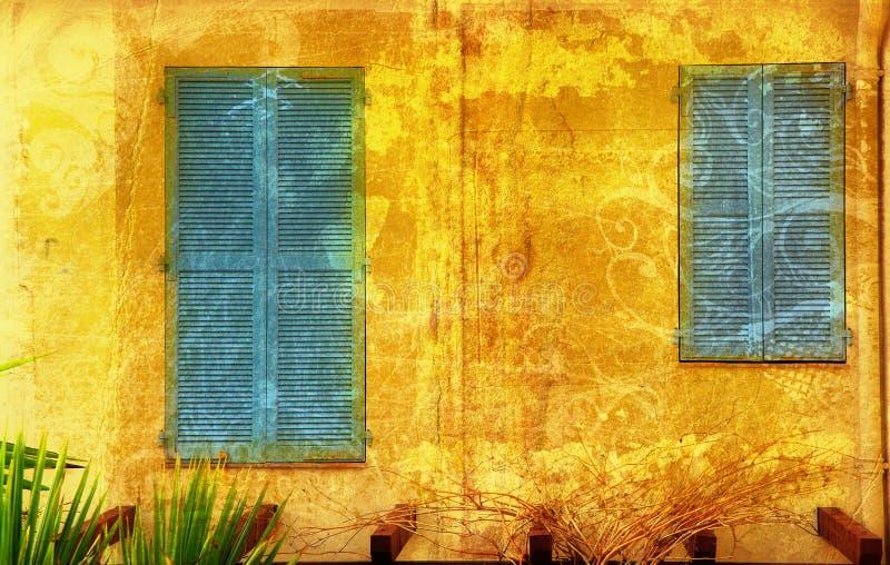 французские окна grunge стоковые фотографии rf