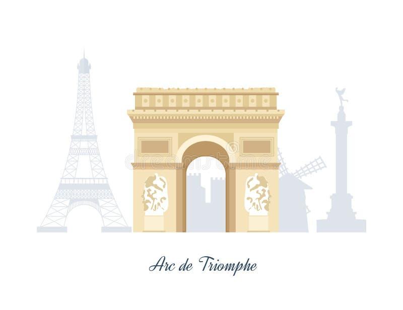 Французские ориентир ориентиры Эйфелева башня, Нотр-Дам внутри иллюстрация штока