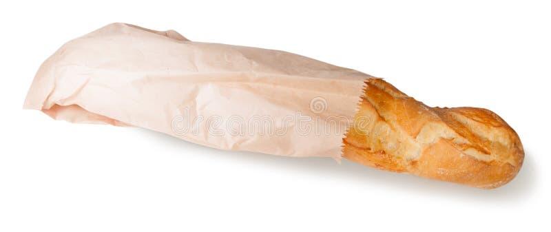Французский багет в бумажной сумке стоковые фотографии rf