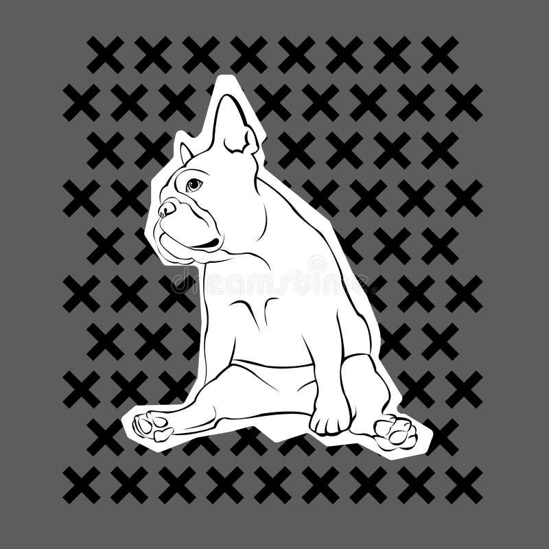 Французский бульдог Иллюстрация вектора для плаката милый щенок иллюстрация вектора