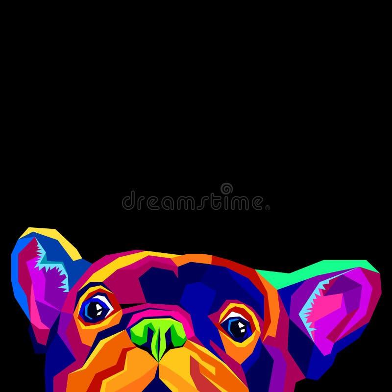 Французский бульдог Иллюстрация вектора для плаката милый щенок бесплатная иллюстрация