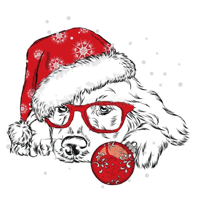 Французский бульдог в шляпе зимы Печать на одеждах милый щенок Собака родословной Зимний отдых иллюстрация штока