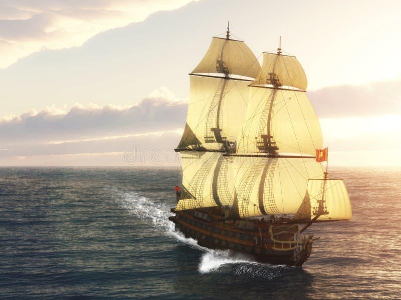 Французский военный корабль иллюстрация вектора