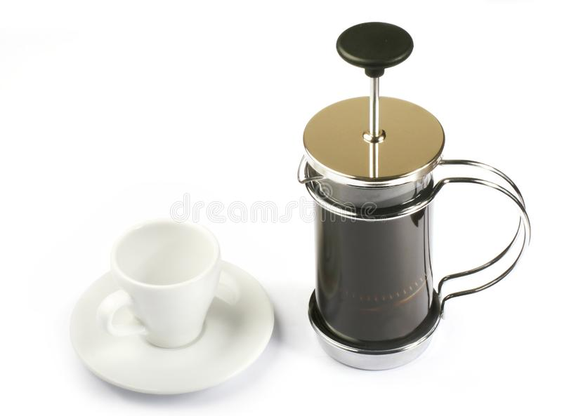 Французский давлени-кофе с чашкой стоковые изображения