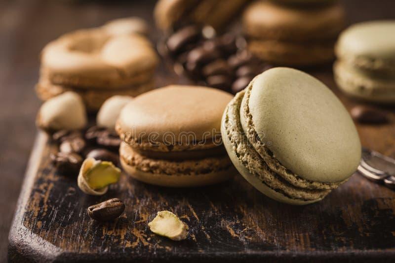 Французский кофе Macarons стоковые изображения rf
