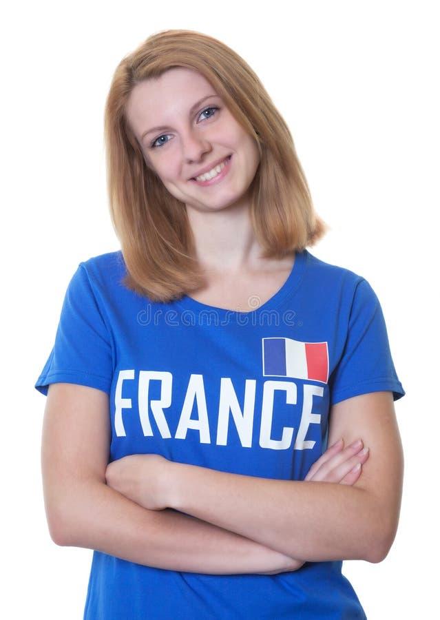 Французский поклонник футбола с красными волосами стоковое изображение rf