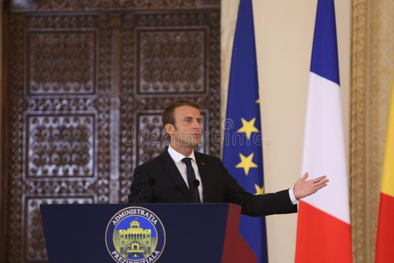 Французский президент Emmanuel Macron стоковые изображения rf