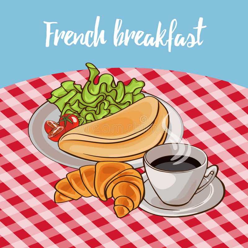 Французский плакат завтрака иллюстрация вектора