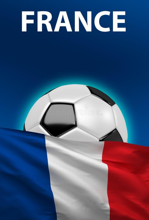 Французский флаг, футбольный мяч Франции, футбол, 3D представляет иллюстрация штока