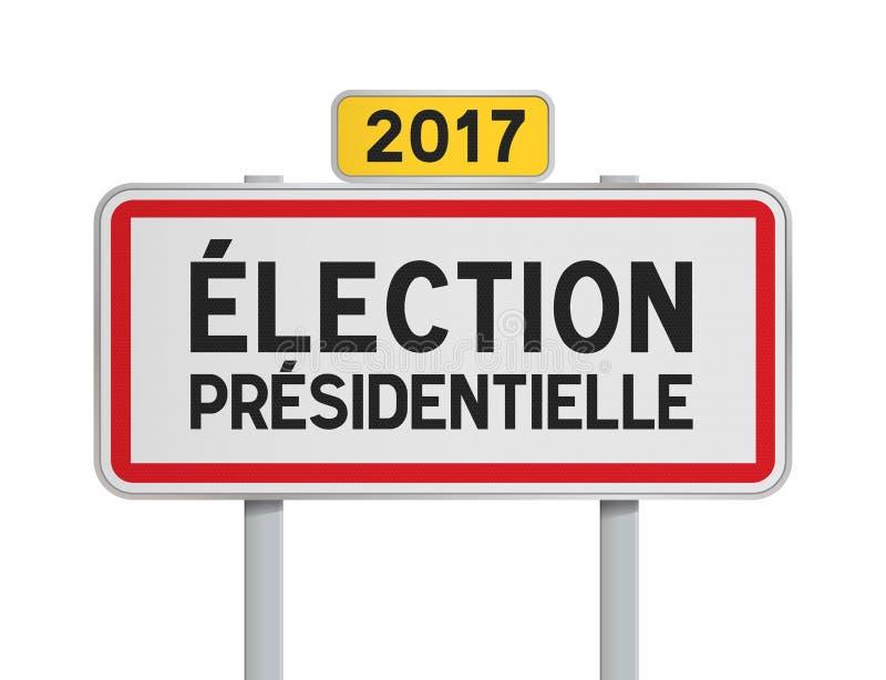 Французское избрание президентское 2017 roadsign иллюстрация штока