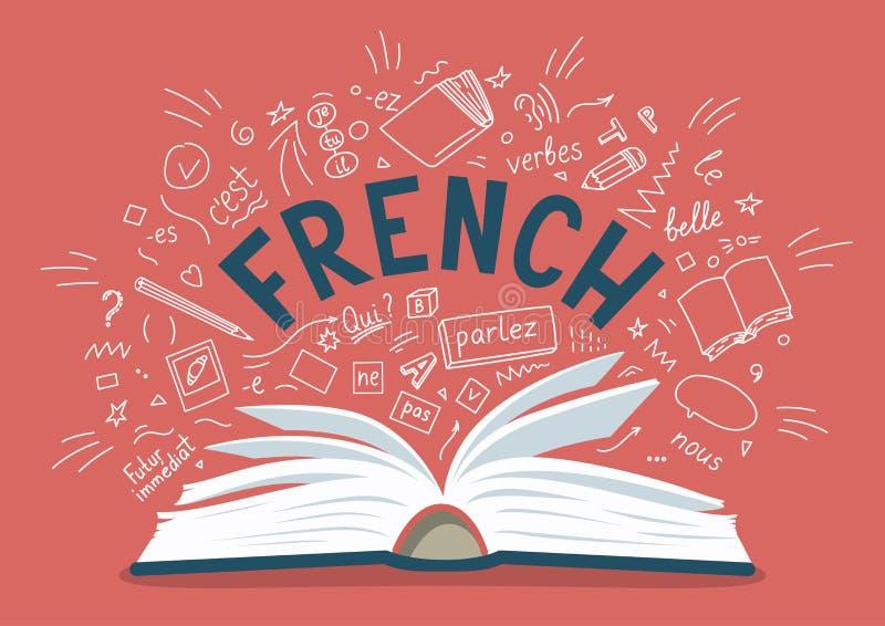 французско Открытая книга при нарисованная рука языка doodles и литерность иллюстрация штока