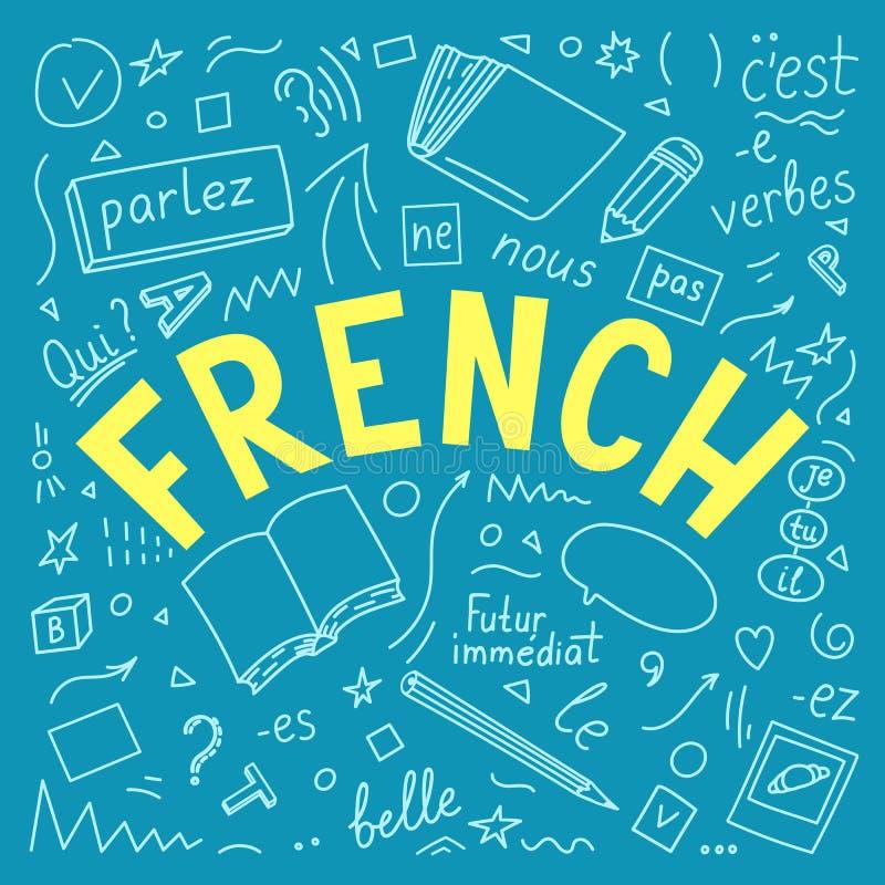 французско Doodles и помечать буквами руки языка вычерченные иллюстрация штока