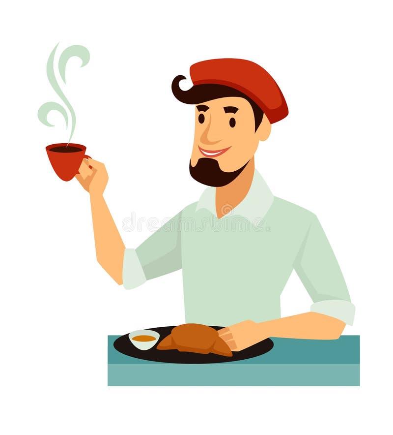 Француз в берете имеет традиционный вкусный французский завтрак иллюстрация штока