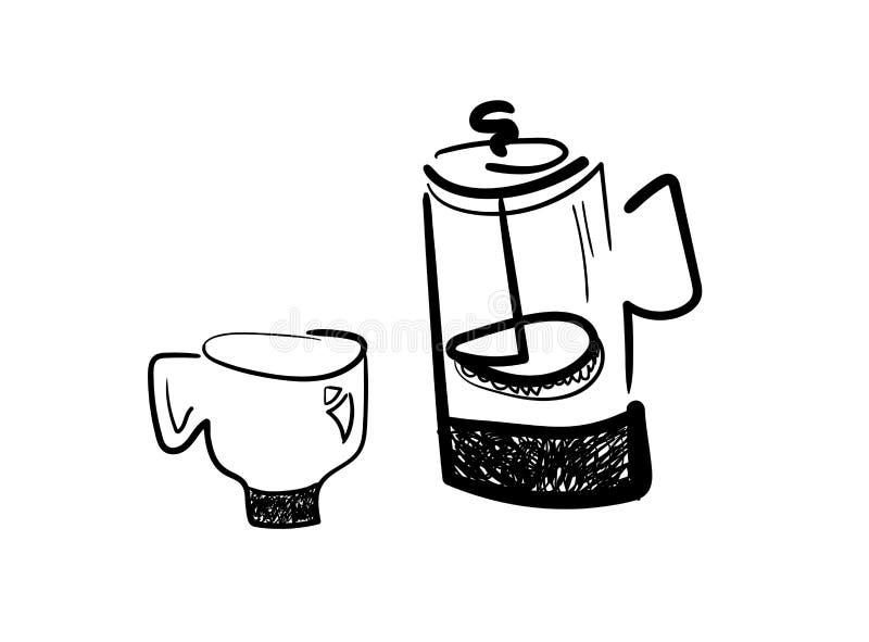 Француз пресса и кофейная чашка иллюстрация вектора