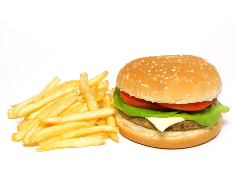 франчуз жарит гамбургер стоковое изображение rf