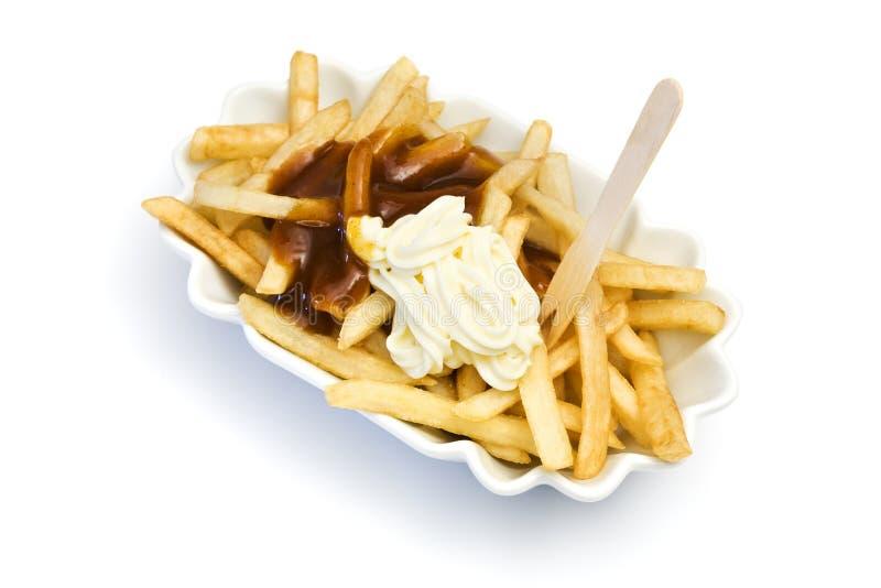 франчуз жарит соус майонеза ketchup стоковая фотография rf
