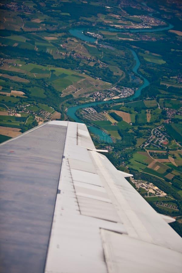 франчуз страны над поворачивать плоского реки бортовой стоковое фото rf