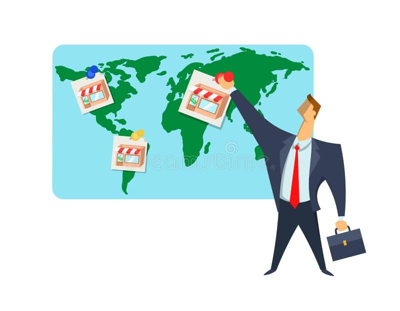 Франшиза, торгуя сеть, иллюстрация вектора концепции Бизнесмен кладет изображения магазина на карту мира Шкалирование  иллюстрация вектора
