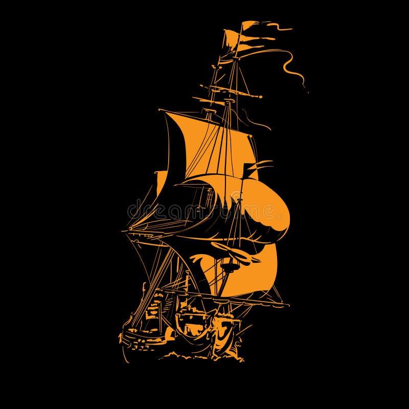Фрегат парусного судна винтажный на волнах Силуэт в отличие светлый иллюстрация иллюстрация вектора