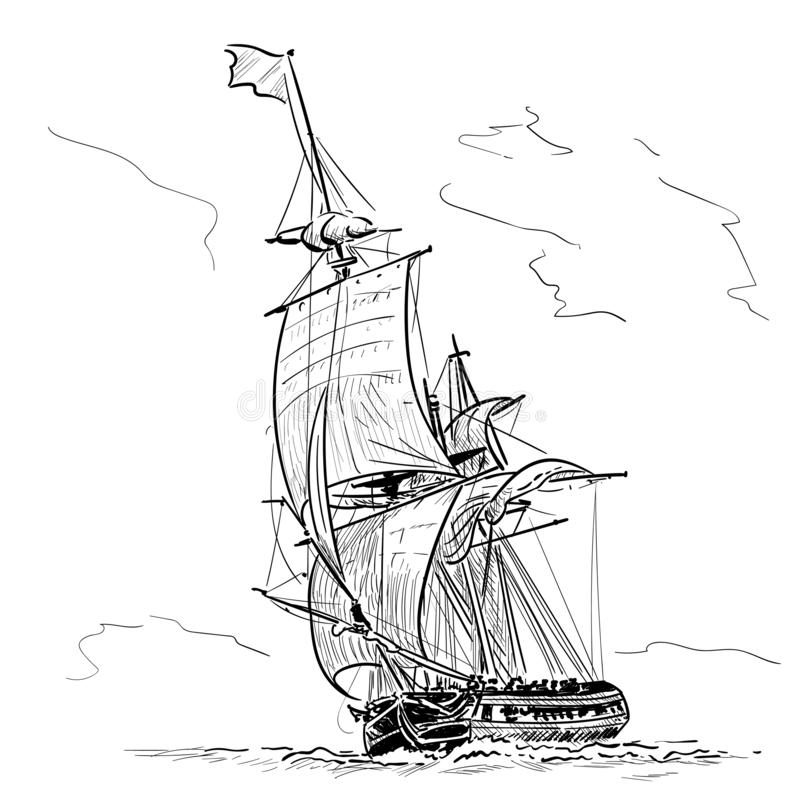 Фрегат парусного судна винтажный на волнах E Эскиз руки r иллюстрация штока