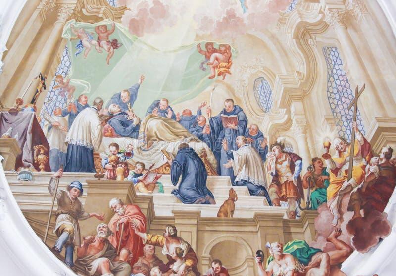 Фреска в базилике St Mang в Fussen, Баварии, Германии стоковое изображение