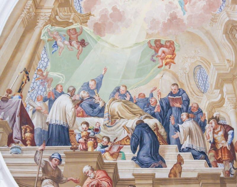 Фреска в базилике St Mang в Fussen, Баварии, Германии стоковые фото