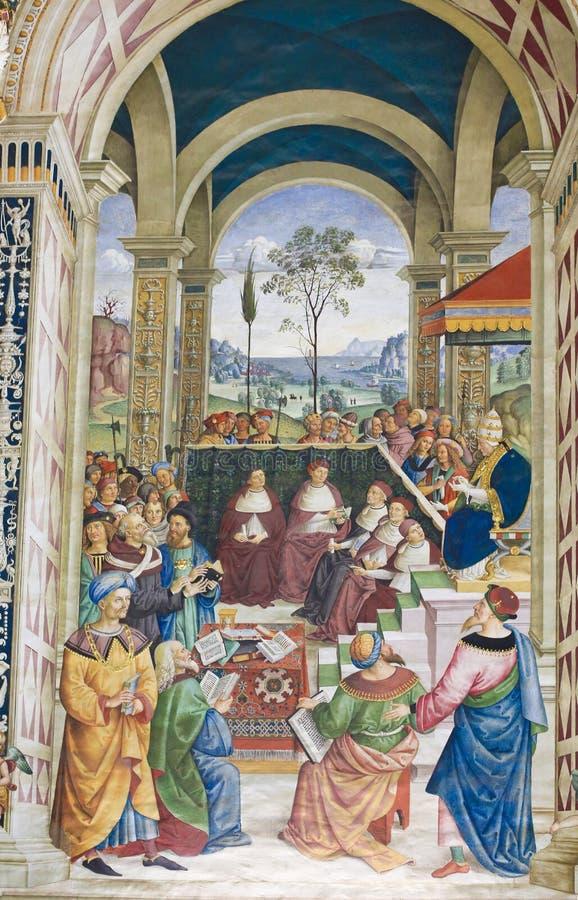 Фреска в библиотеке Piccolomini, Сиене стоковое фото rf