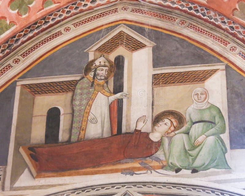 Фреска в San Gimignano - Святых Грегори и Fina стоковые фотографии rf