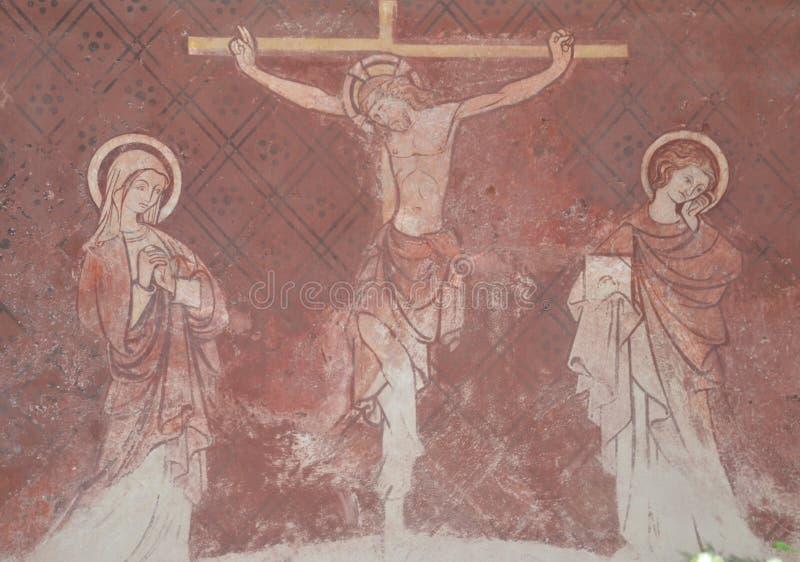 Фреска Иисуса на кресте стоковая фотография