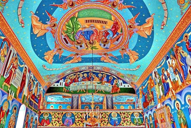 Фреска настенной росписи в Румынии стоковые фото