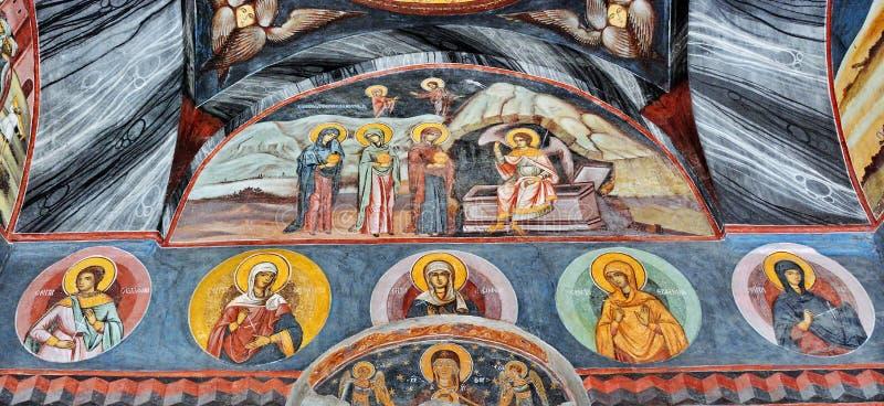 Фреска настенной росписи на монастыре стоковые фотографии rf