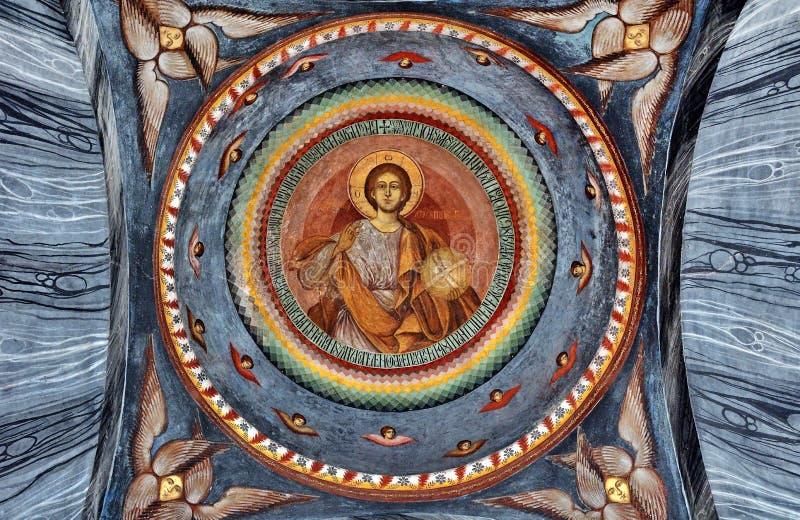 Фреска настенной росписи на монастыре стоковое изображение